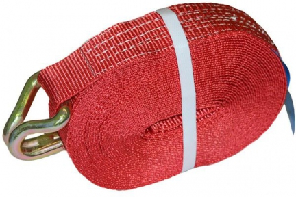 Лента 5-10т, 9,7м стяжки груза с крючком, красная