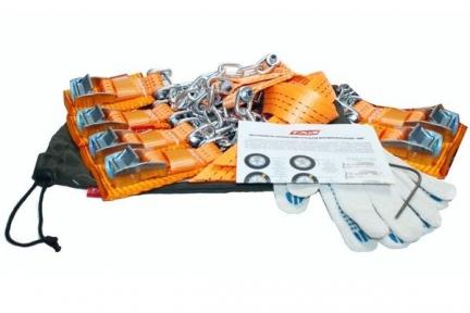 Цепь противоскольжения (браслет) 4WD R16-R21 тип1 для шин 205-235 6шт + крючок + перчатки в мешке (Такелаж+)