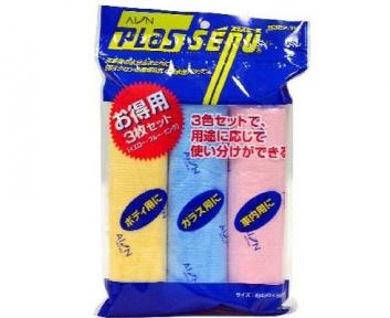 Салфетка замшевая искуств.набор из 3шт желтая+голубая+розовая 430х325 Япония