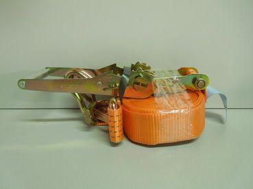 Стяжка груза 8м, 10т шир. 50мм с крюком и фиксатором (Такелаж+)